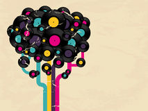 Vinyl record tree with space for text Royalty Free Stock Images