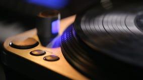 Vinyl record on turntable. Night club stock video
