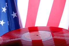 Vinyl record with USA flag Stock Photography