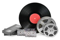 Vinyl record, video and audio cassettes Royalty Free Stock Photography