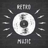 Vinyl record vintage label, Hand drawn sketch, grunge textured retro badge, typography design t-shirt print, vector illustration o Royalty Free Stock Images