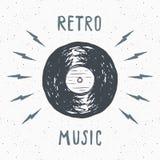 Vinyl record vintage label, Hand drawn sketch, grunge textured retro badge, typography design t-shirt print, vector illustration Royalty Free Stock Photography