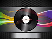 Vinyl record and waves on brushed metallic background and panel Royalty Free Stock Photos