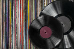 Vinyl record withf a collection of albums Royalty Free Stock Photo