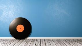 Vinyl Record on Wooden Floor Against Wall. Vinyl Record on Wooden Floor Against Blue Wall with Copy Space 3D Illustration Stock Illustration