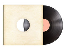 Vinyl recording disc in paper sleeve isolated Royalty Free Stock Image
