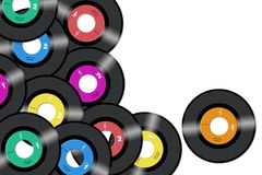 Vinyl records. 45rpm vinyl records with diferent label colors in white background royalty free illustration