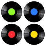 Vinyl Records Collection. Vinyl 33rpm records with different colored labels Royalty Free Stock Image