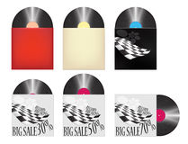 Vinyl Records Cover Big Sale Racing Shop Icons Set Stock Images