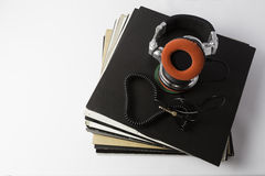 Vinyl records with dj headphones Royalty Free Stock Photos