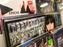 Vinyl Records Featuring Famous Rock Music For Sale In Music Media Shop Royalty Free Stock Images