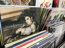 Vinyl Records Featuring Famous Rock Music For Sale In Music Media Shop Stock Photography