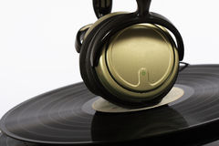 Vinyl records and headphones Stock Images