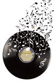 Vinyl records and musical notes. Royalty Free Stock Image
