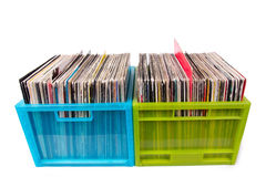 Vinyl records in plastic boxes isolated on white Royalty Free Stock Image