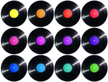 12 vinyl records 1500px height size and labels Royalty Free Stock Photography