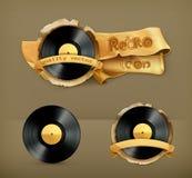 Vinyl records, vector icons Stock Photos
