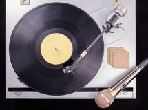 Vinyl retro cellphone Retro audio in studio Royalty-vrije Stock Fotografie