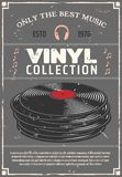 Vinyl records music shop vector retro poster. Vinyl retro poster for music shop or audio appliances of players, earphones or headphones and audio systems. Vector stock illustration