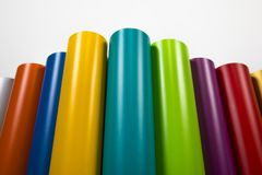 Colored vinyl rolls. Vinyl rolls of many colors Royalty Free Stock Image