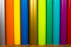 Colored vinyl rolls. Vinyl rolls of many colors Royalty Free Stock Photo