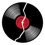 Vinyl 33rpm Broken Record With Red Label Stock Photos