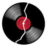 Vinyl-33rpm gebrochene Aufzeichnung mit rotem Aufkleber Stockfotos