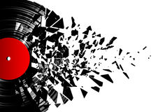 Vinyl shatter. 3D render of shattering vinyl record, easy to colorize Stock Photos