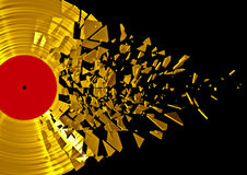Vinyl shatter gold. 3D render of shattering gold vinyl record Stock Photos
