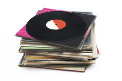Vinyl stack. Stack of vinyl record isolated on white background Stock Images