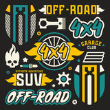 Vinyl stickers and badges for off-road car. Color print on black background stock illustration