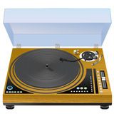 Vinyl turntable. Realistic wooden case turntable on white background Stock Photography