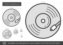 Vinyl turntable line icon. Royalty Free Stock Photography