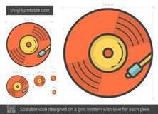 Vinyl turntable line icon. Stock Photo