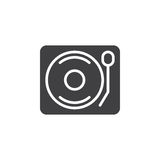 Vinyl turntable record player icon vector, filled flat sign, solid pictogram isolated on white. Stock Image
