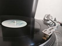 Vinyl on a turntable. Vinyl spinning on a Stock Photos