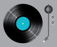 Vinyl turntable with switches. Grey vector Royalty Free Stock Image