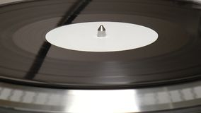 Vinyl Turntable with White Label Record Stock Footage