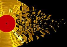 Vinyl verbrijzel goud Stock Foto's