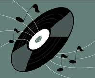 Vinyl verslag en muzieknota's stock illustratie