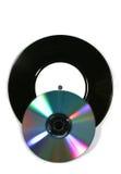 Vinyl verslag en overlappende CD Stock Fotografie