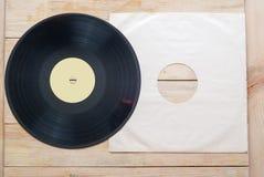 Vinylaufzeichnung mit Kopienraum vor blinden Titeln der Alben einer Sammlung, Weinleseprozeß Stockfoto