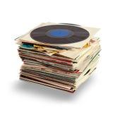 Vinylaufzeichnungen mit Schatten auf weißem Hintergrund Stockbild