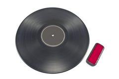 Vinylaufzeichnungs-Langspielplatten-Albumdiskette mit Reiniger Lizenzfreie Stockfotografie