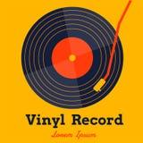Vinylaufzeichnungs-Musikvektor mit gelber Hintergrundgraphik Stockfotos