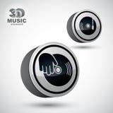 Vinyle avec l'icône de vecteur de main du DJ, elemen de conception du vecteur 3d Images libres de droits