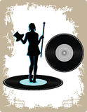 Vinyle de cru avec la dame de danse Photographie stock