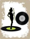 Vinyle de cru avec la dame de danse Image stock