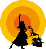 Vinyle de cru avec la rétro dame de danse Image stock