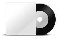Vinyle noir avec le papercover Photographie stock libre de droits